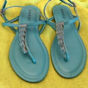 Turquoise jeweled thong flat sandals